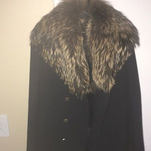 Theory Navy peacoat with real dyed fox fur